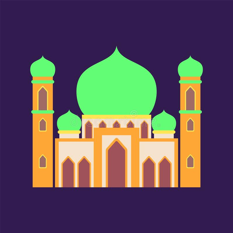 Islamic mosque isolated flat design with pastel colorful,vector illustration mosque for ramadan kareem and eid mubarak royalty free stock photos