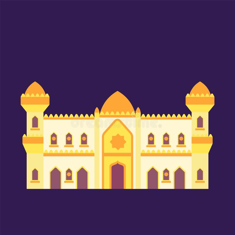 Islamic mosque isolated flat design with pastel colorful,vector illustration mosque for ramadan kareem and eid mubarak royalty free stock image
