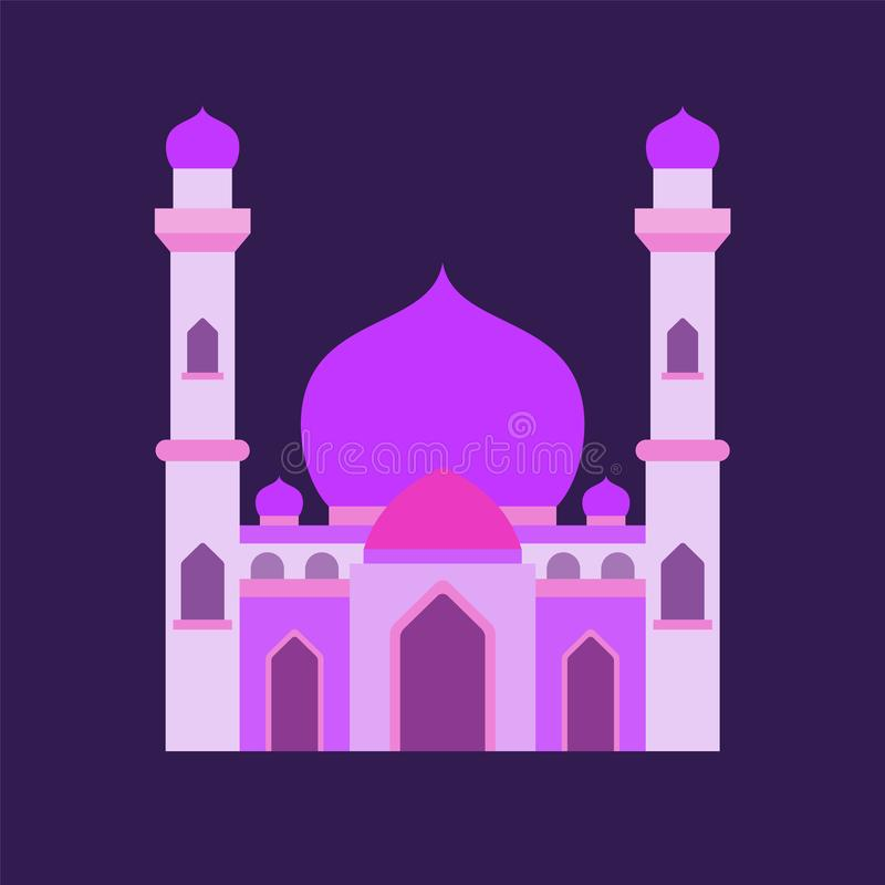 Islamic mosque isolated flat design with pastel colorful,vector illustration mosque for ramadan kareem and eid mubarak royalty free stock images