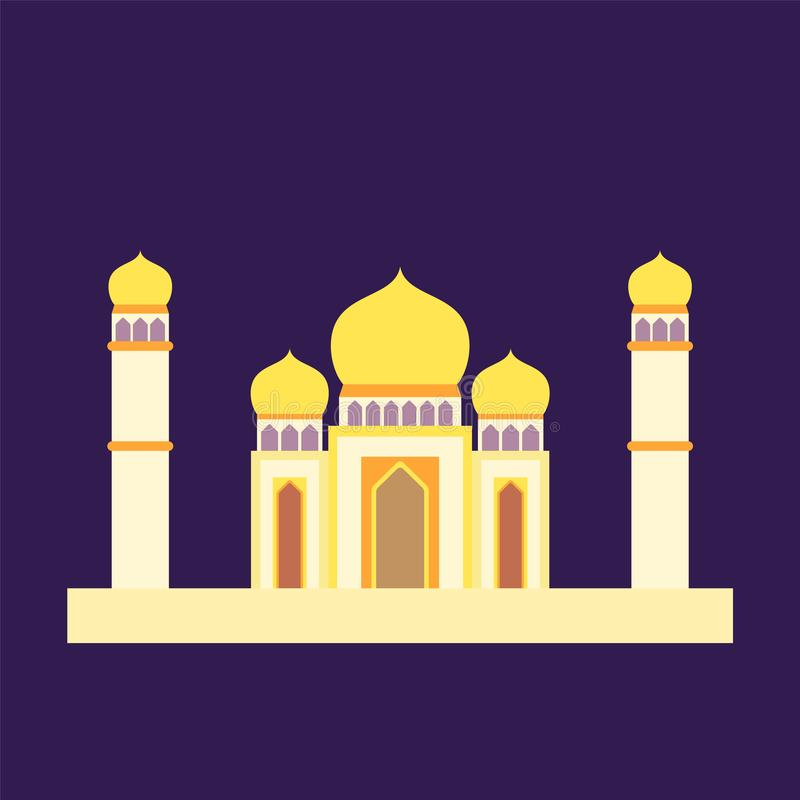 Islamic mosque isolated flat design with pastel colorful,vector illustration mosque for ramadan kareem and eid mubarak vector illustration