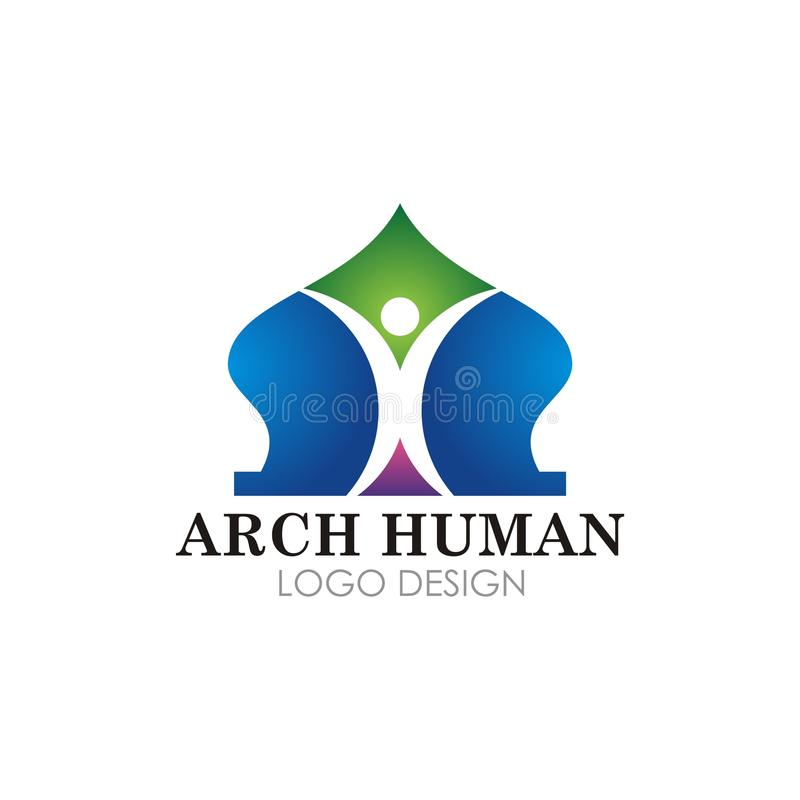 Islamic mosque logotype vector design stock illustration