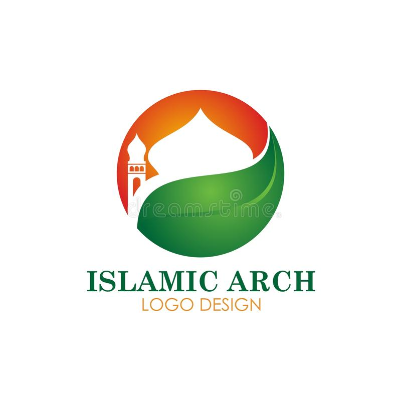 Islamic mosque logotype vector design. Islamic logotype vector design, with mosque, tower and arch. full of meaning, simple and elegant, perfect for logo or icon royalty free illustration