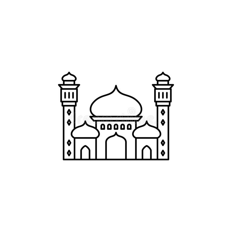Islamic mosque outline icon. vector illustration