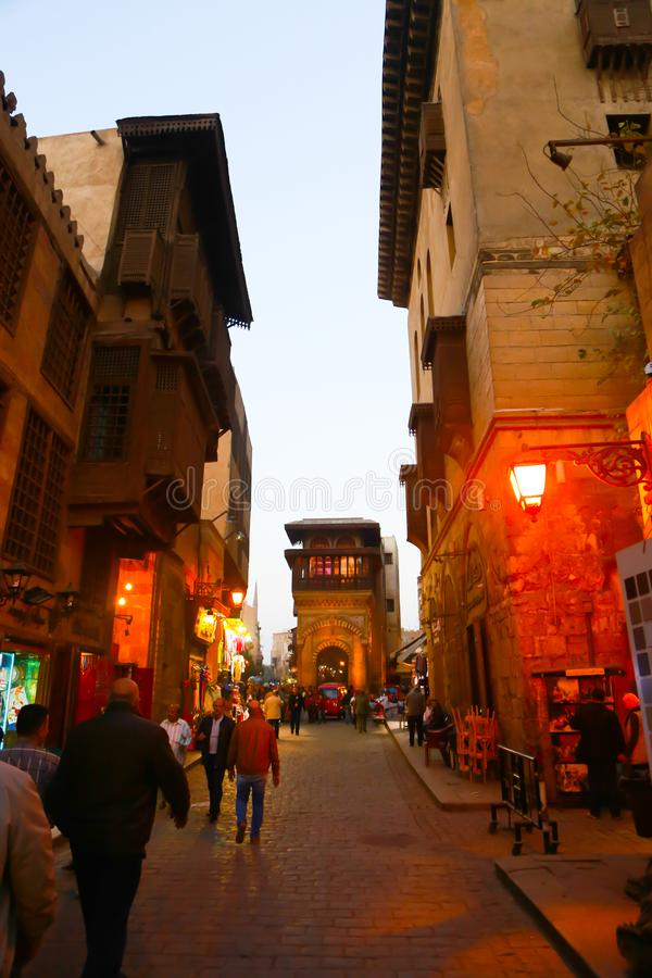 El Moez st., Old Cairo, Egypt. Islamic old Cairo places and historic building royalty free stock images