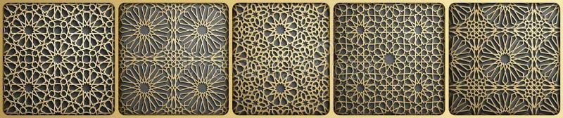 Islamic ornament vector , persian motiff . 3d ramadan islamic round pattern elements . Geometric circular ornamental. Arabic symbol vector vector illustration