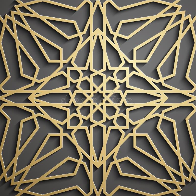 Islamic ornament vector , persian motiff . 3d ramadan islamic round pattern elements . Geometric circular ornamental. Islamic ornament vector , persian motiff stock illustration