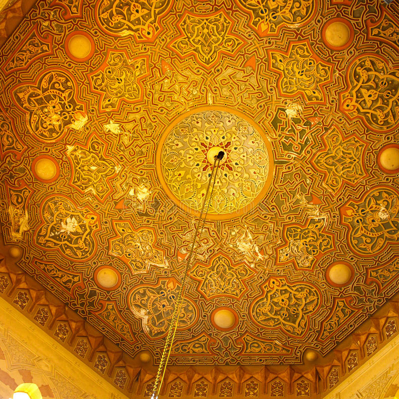 Islamic pattern. Luxury ceiling in old mosque with Islamic pattern stock image