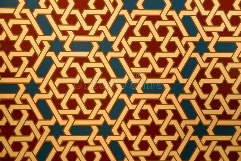 Islamic pattern. Tile in mudejar style in the Alfajeria palace in Saragossa, Spain royalty free stock photos
