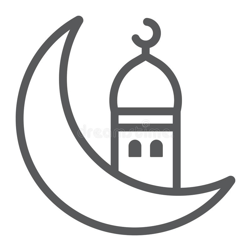 Islamic ramadan line icon, arabic and islam, ramadam kareem sign, vector graphics, a linear pattern on a white stock illustration