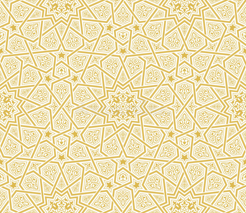 Islamic Star Ornament Golden Background Stock Vector