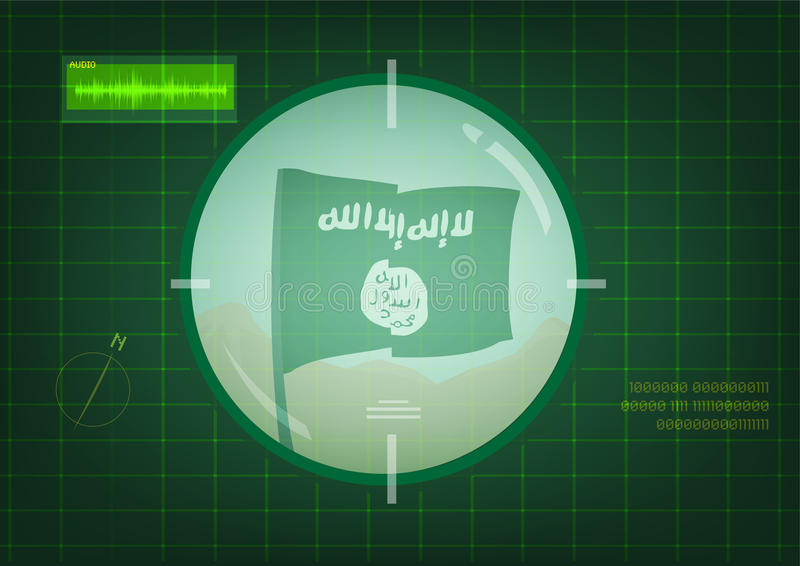 Islamic State of Iraq and the Levant (ISIL) or the Islamic State of Iraq and Syria (ISIS) Flag on Target Scope Surveillance vector illustration