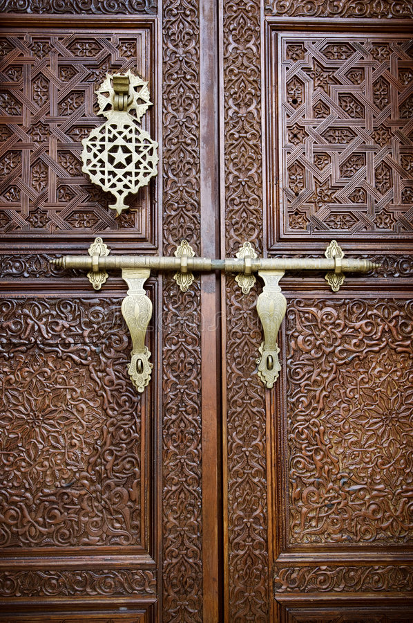 Islamic style door. With details background royalty free stock photos