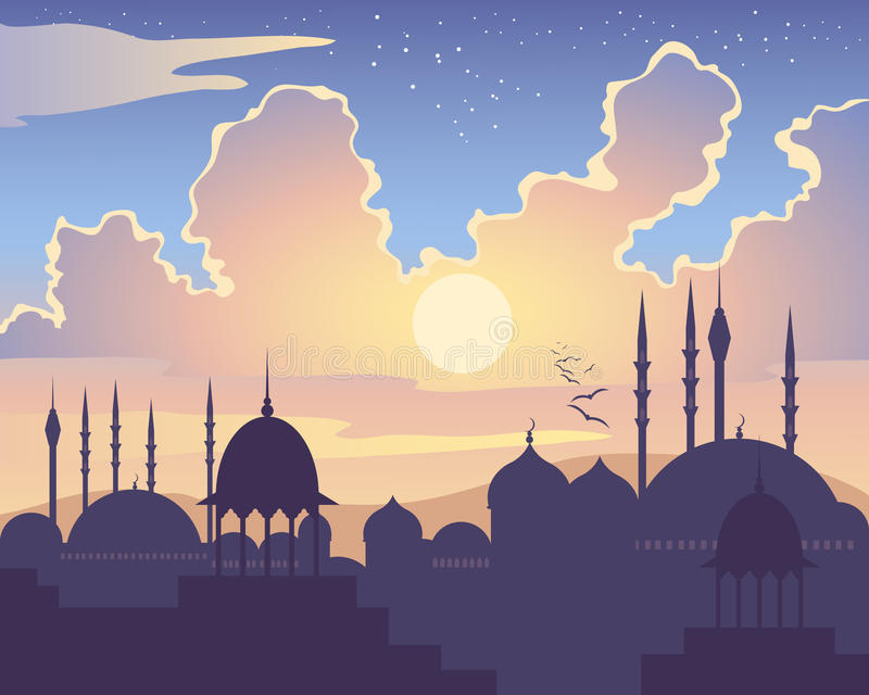 Islamic sunset. An illustration of an islamic skyline at sunset with asian architecture mosques domes and minarets under a colorful starry sky vector illustration