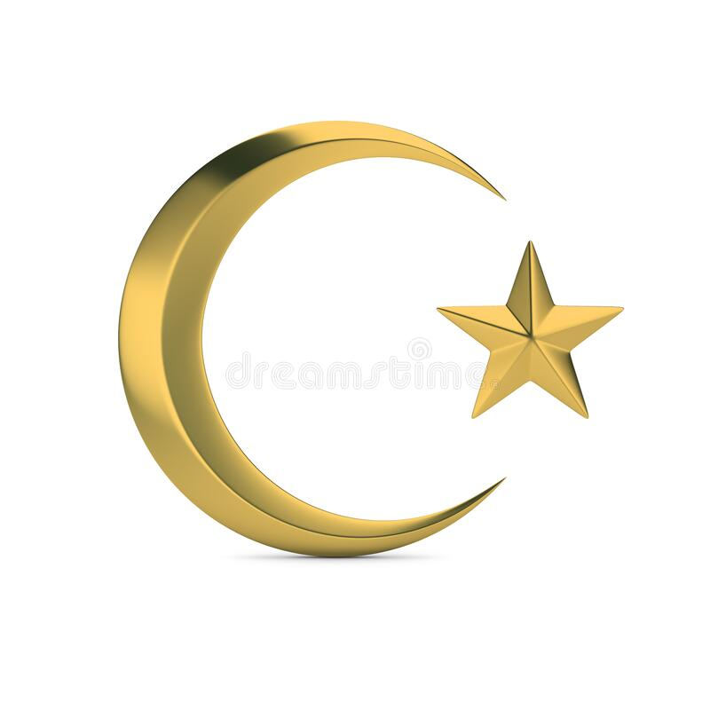 Islamic symbol. Golden Islamic symbol. Crescent moon and star. 3D generated image. White background stock illustration