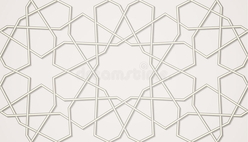 Islamic traditional pattern. Light seamless symmetrical abstract vector background in arabian style made of emboss geometric shapes with shadow. Islamic vector illustration