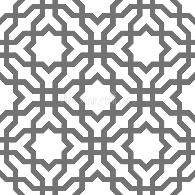 Islamic vector geometric ornaments, traditional arabic art. Oriental seamless pattern. Turkish, Arabian, Moroccan tile royalty free illustration