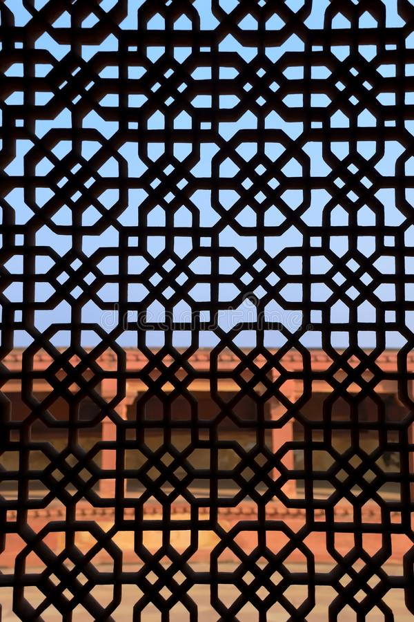 Islamic window. Detail of a window at Fatehpur Sikri mosque in Agra, India stock photo