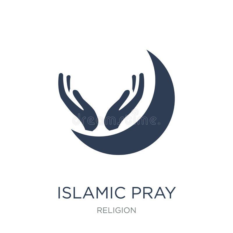 Islamisch beten Sie Ikone Der modische flache islamische Vektor beten Ikone auf Weiß vektor abbildung