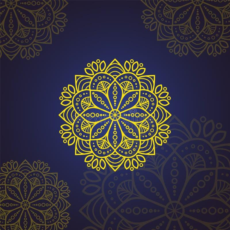 Islamische Blumen-Mandala Dekorative Elemente der Weinlese Orientalisches Muster, Vektorillustration Islam, Arabisch, Inder, Maro lizenzfreie abbildung