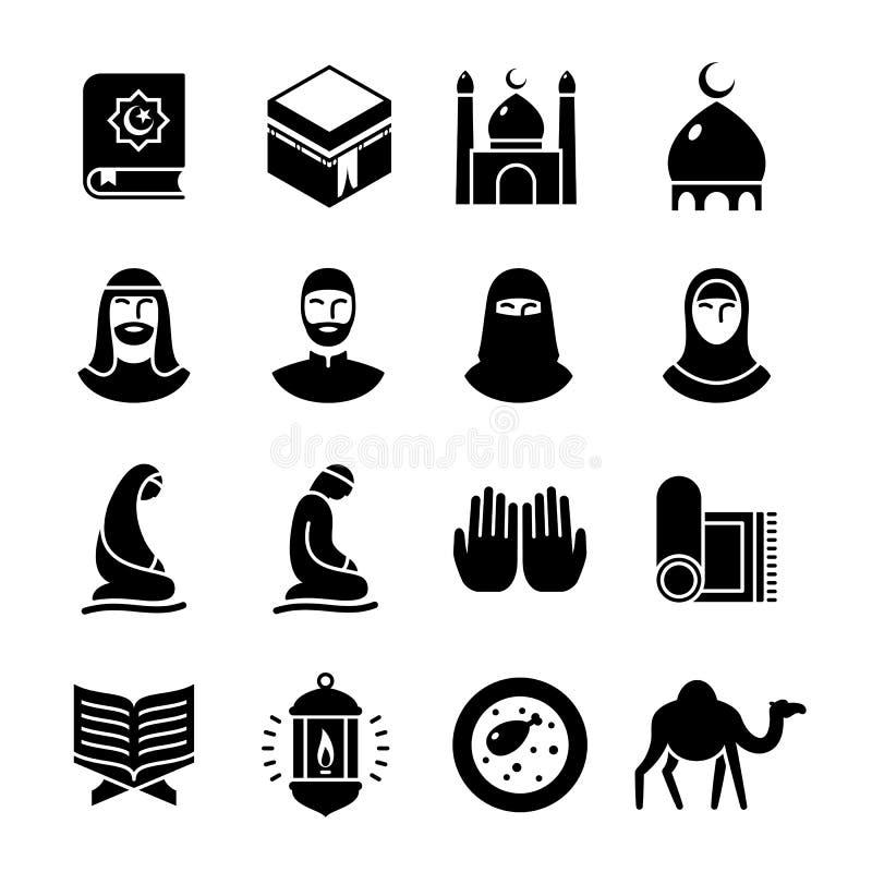 Islamische Kultur Glyphikonen eingestellt vektor abbildung