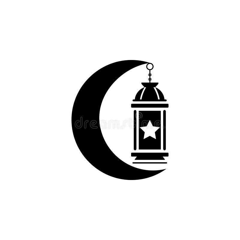 islamische Laterne, Lampe, Mondikone Element von Ramadan-Ikone Erstklassige Qualit?tsgrafikdesignikone Zeichen und Symbolsammlung stock abbildung