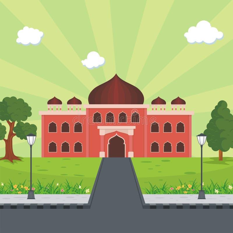 Islamische Moschee der Karikatur und reizende Naturlandschaft stock abbildung