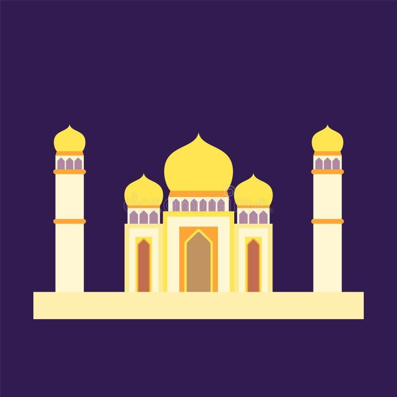 Islamische Moschee lokalisierter flacher Entwurf mit bunter, Vektorillustrationspastellmoschee für Ramadan-kareem und eid Mubarak vektor abbildung