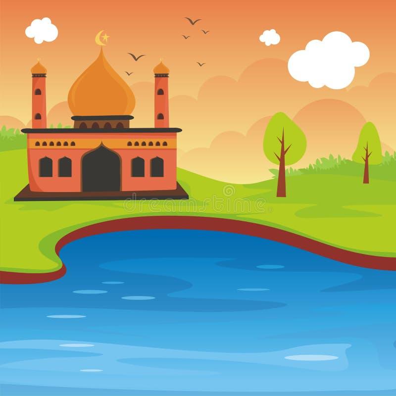 Islamische Moschee und Landschaft der Karikatur vektor abbildung