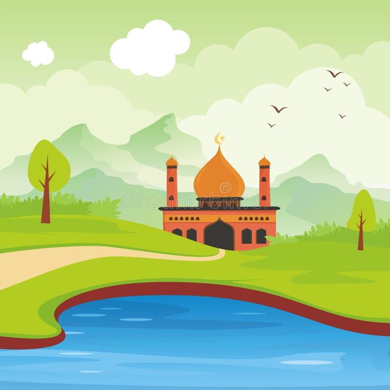 Islamische Moschee und Landschaft der Karikatur lizenzfreie abbildung