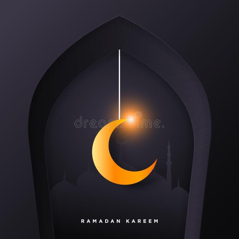 Islamische Moscheentür für Ramadan-kareem Grußfahnenhintergrund mit Kunstdruckpapier-Schnittart, glänzendem Mond und Moscheenland vektor abbildung