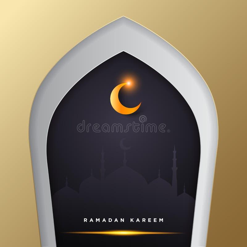 Islamische Moscheentür für Ramadan-kareem Vektorgruß-Fahnenhintergrund mit Kunstdruckpapier-Schnittart, glänzendem Mond und Mosch vektor abbildung