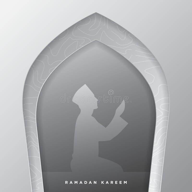 Islamische Moscheentür für Ramadan-kareem Vektorgruß-Fahnenhintergrund mit Kunstdruckpapier-Schnittart, Manngebetslandschaft krea stock abbildung