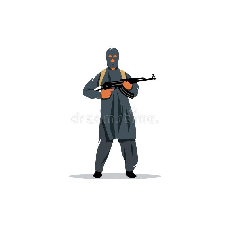 Islamische Ostkommandos mit einem Gewehr Auch im corel abgehobenen Betrag stock abbildung