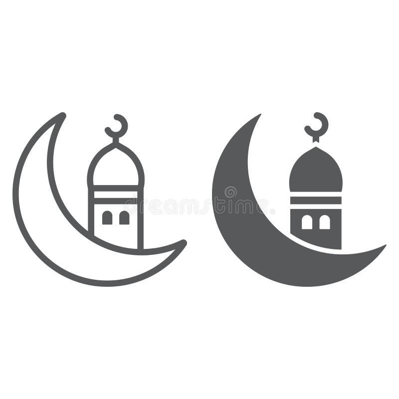 Islamische Ramadan-Linie und Glyphikone, Arabisch und Islam, ramadam kareem Zeichen, Vektorgrafik, ein lineares Muster auf einem  vektor abbildung