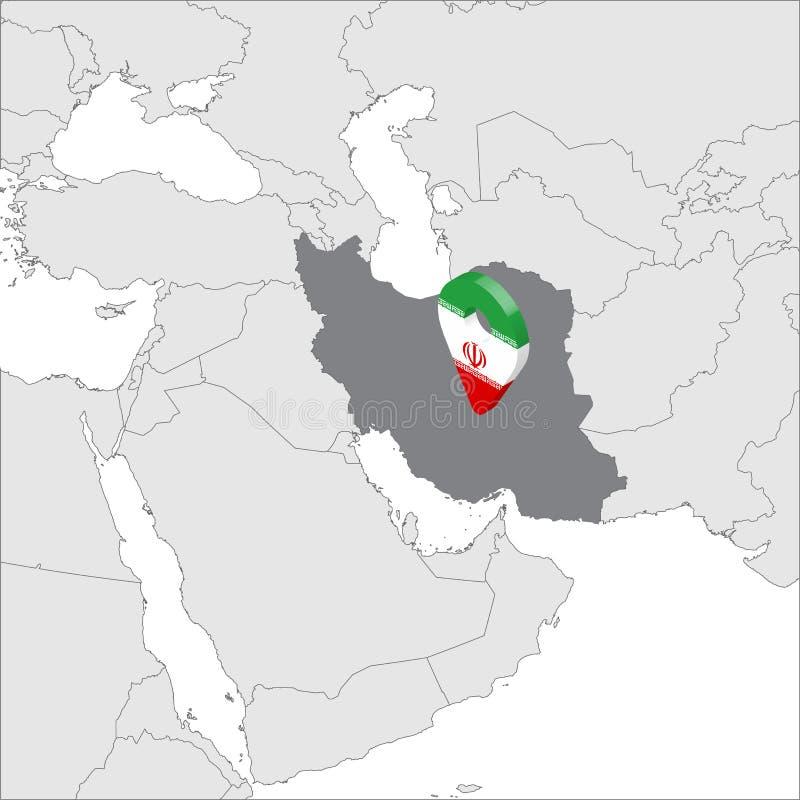 Islamische Republik der Iran-Standort-der Karte auf Karte Asien Flaggenkartenmarkierungs-Standortstift 3d der Iran Karte der hohe lizenzfreie abbildung