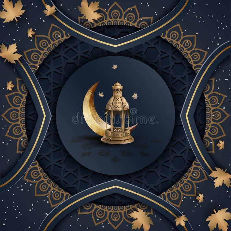 Islamischer Grußramadan-kareem Hintergrund-Schablonenentwurf vektor abbildung