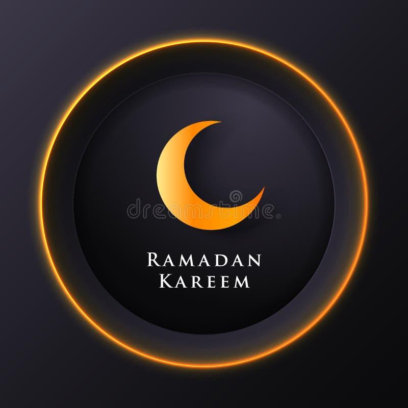 Islamischer Kreis für Ramadan-kareem Vektorgruß-Fahnenhintergrund mit Kunstdruckpapier-Schnittart, glänzendem Mond und Moscheenla lizenzfreie abbildung