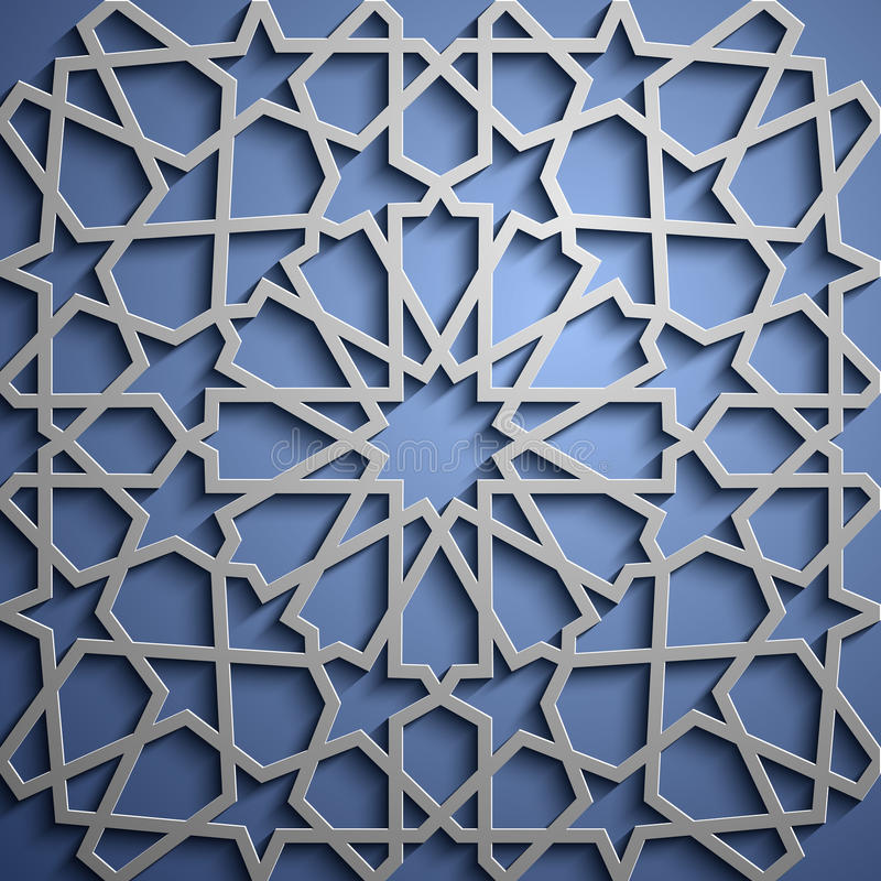 Islamischer Verzierungsvektor, persisches motiff islamische runde Musterelemente 3d Ramadan Geometrischer Kreisornamental lizenzfreie abbildung