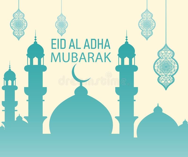 Islamisches Festival des Opfers, Eid Al Adha Mubarak Greeting Card lizenzfreie abbildung