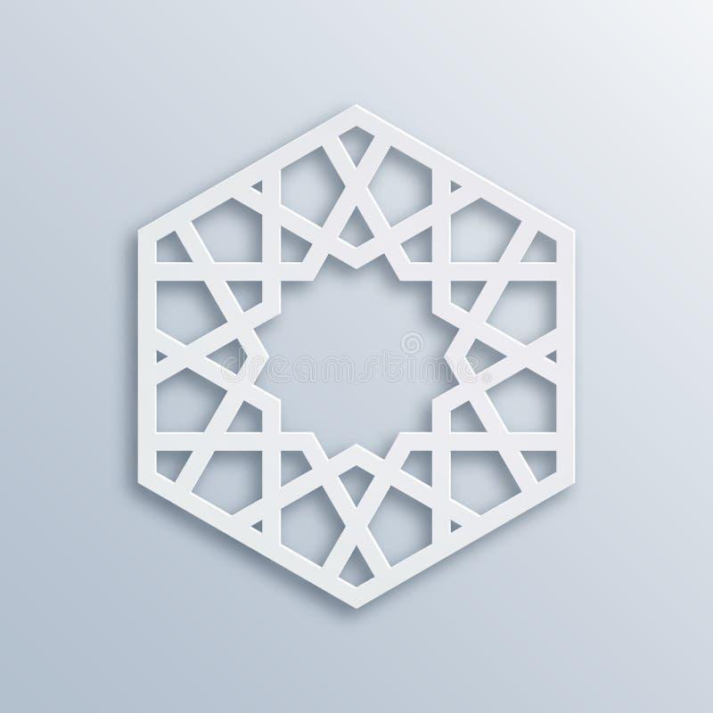 Islamisches geometrisches Muster Moslemisches Mosaik des Vektors, persisches Motiv Elegante weiße orientalische Verzierung, tradi stock abbildung