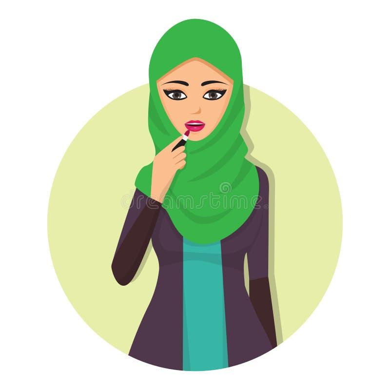 Islamisches Mädchengesicht arabischer Charakter der Frau erwachsener arabischer Asien-Nationalität in der hijab Vektorillustratio lizenzfreie abbildung