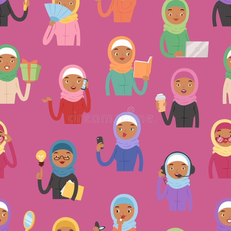 Islamisches Mädchengesicht arabischer Rolle des Charakters der Frau erwachsener unterschiedlicher arabischer Asien-Nationalität i vektor abbildung