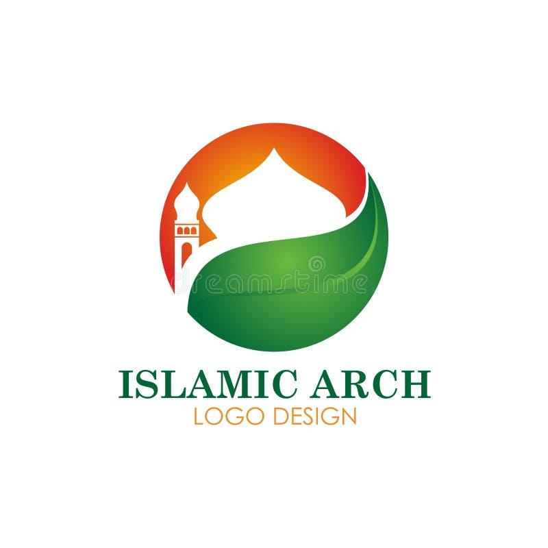 Islamisches Moscheenfirmenzeichen-Vektordesign lizenzfreie abbildung