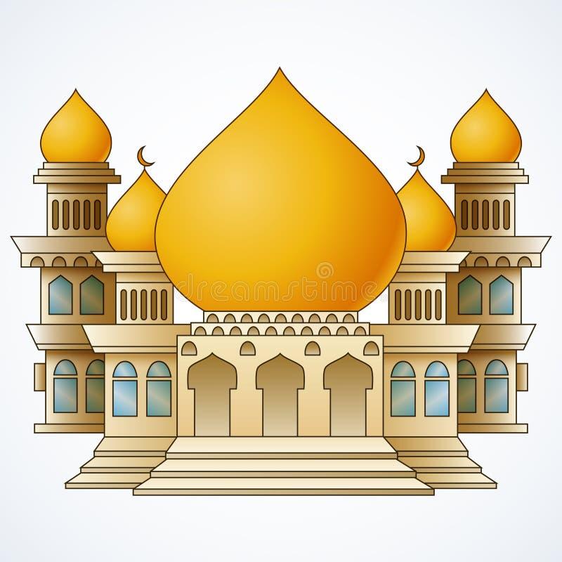 Islamisches Moscheengebäude mit gelber Haube und Turm vier lokalisiert auf weißem Hintergrund vektor abbildung