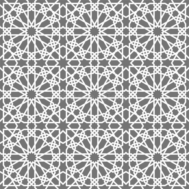Islamisches nahtloses Vektormuster Weiße geometrische Verzierungen basiert auf traditioneller arabischer Kunst Orientalisches mos stock abbildung