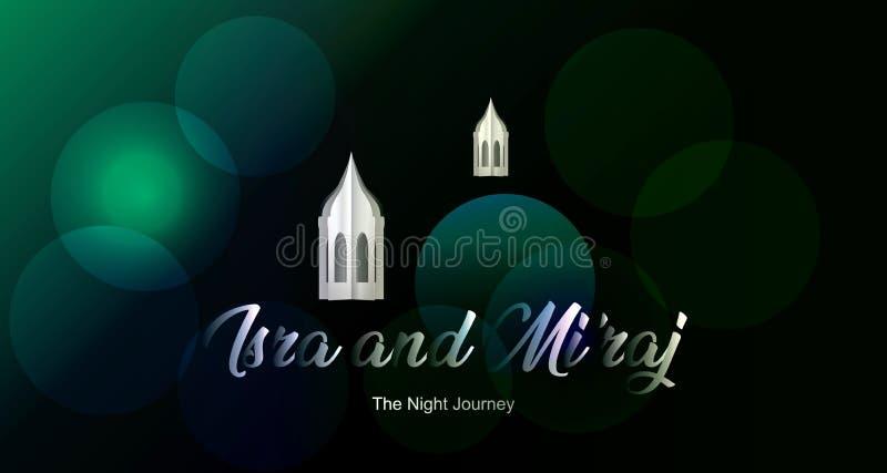 Islamisches Titelentwurf isra und MI-'raj Hintergrund mit Prophet-Mohammeds arabischer Kalligraphie vektor abbildung