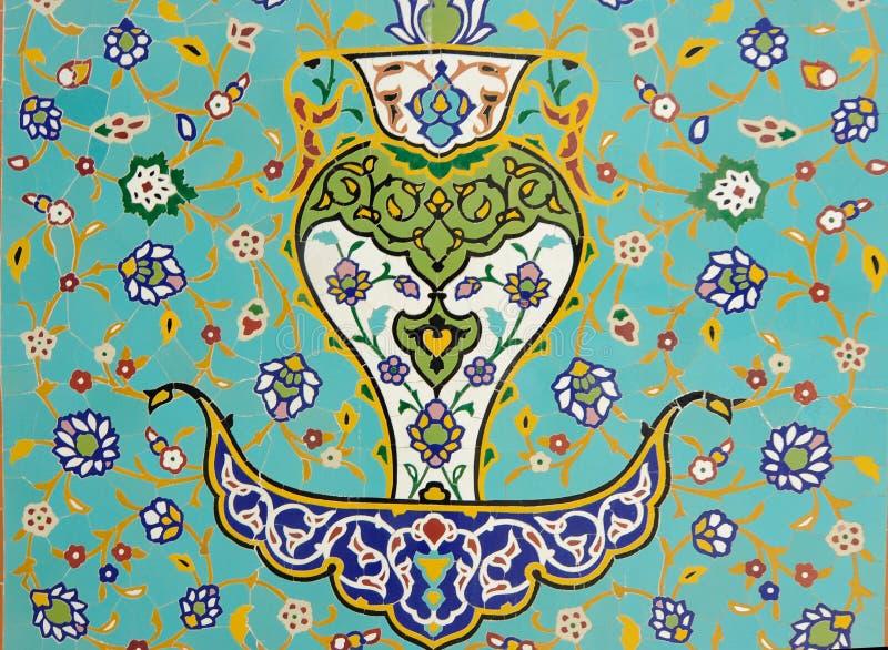 Islamisk blom- motivmodell på mosaik vektor illustrationer