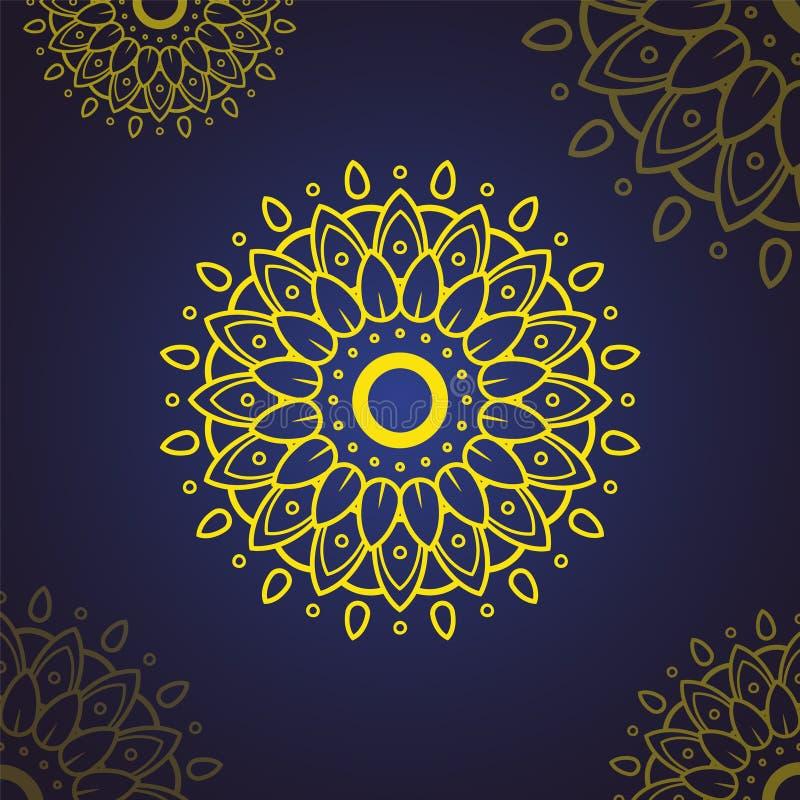 Islamisk blommaMandala dekorativ elementtappning Orientalisk modell, vektorillustration Islam arabiska, indier, moroccan, Spanien royaltyfri illustrationer