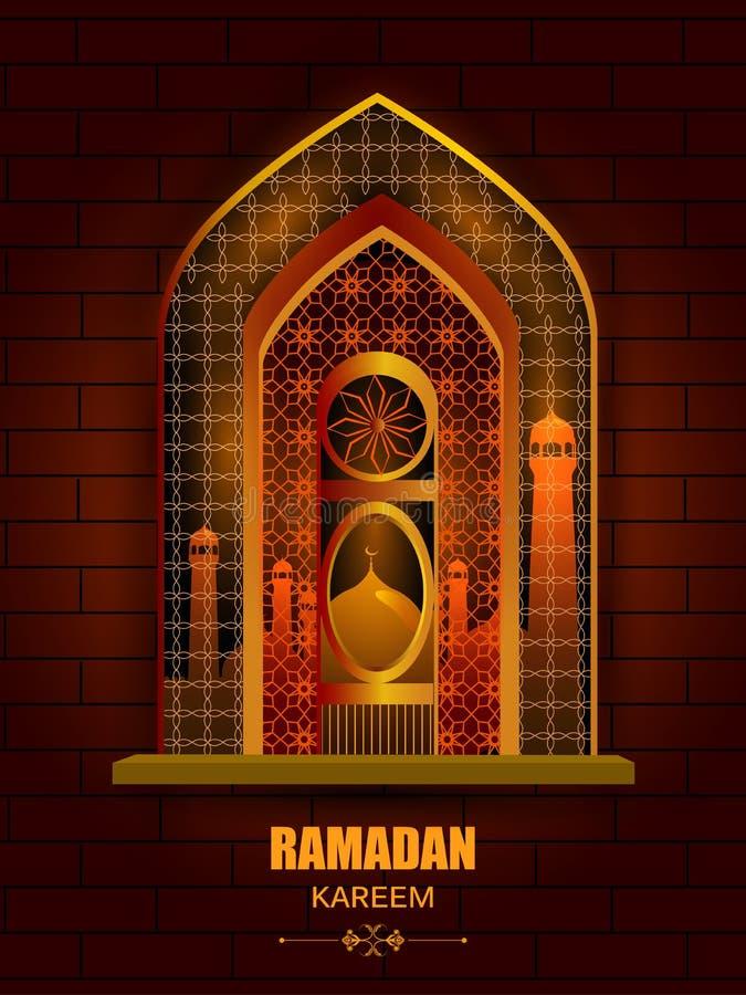 Islamisk designmoskédörr och fönster för Ramadan Kareem Happy Eid berömbakgrund stock illustrationer