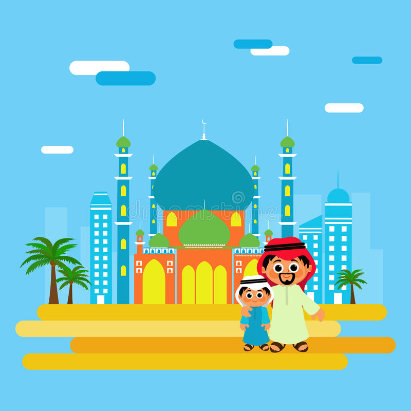 Islamisk fader och son som firar muslimsk festival vektor illustrationer